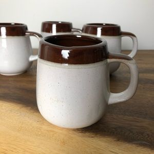 Vintage ceramic mugs Set of 4 Earthy Pottery